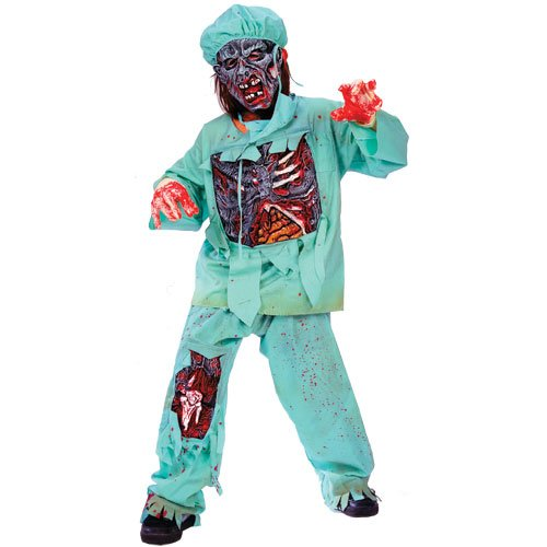 Scary Dentist Halloween Costume (Zombie Doctor Costume: Boy's Size Medium)