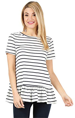 White Striped Top Short Sleeve Tunic Top Reg and Plus Size Peplum Top Ruffle Tops for Women Striped Shirt Womens White Blouse (Size Medium US 6-8, Striped White/Navy/Short Sleeve) (Ruffle Bottom Tunic)