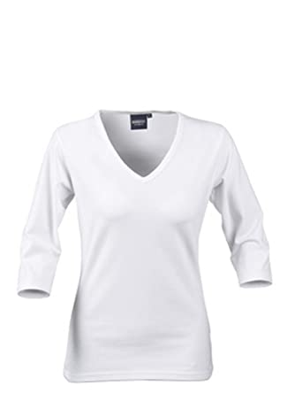2ab8598d0cf Ladies 90% Cotton V Neck Stretch Top with 3 4 Sleeve