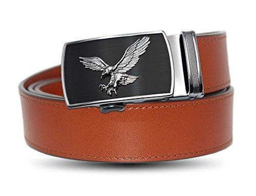 [해외]EZ CLICK BELTS 남성용 풀 그레인 가죽 래칫 벨트 / EZ CLICK BELTS Men`s Full Grain Leather Belts (Waist 28- 46, Brown Full Grain Leather with Eagle Buckle)
