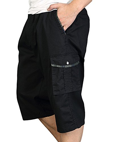 Chickle Mens Loose Fit Big and Tall 3//4 Cargo Shorts