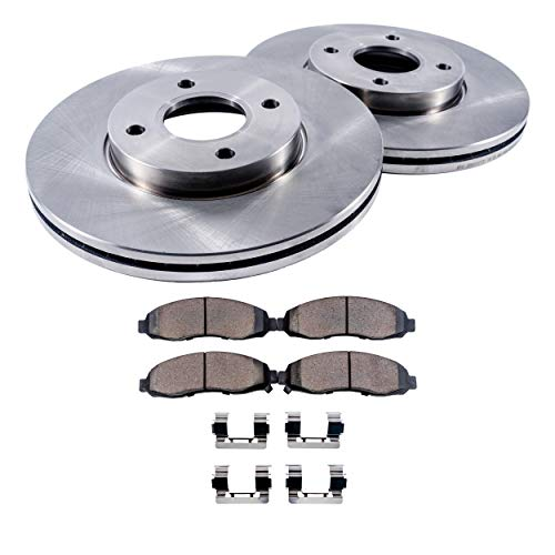 Drum Chevy Brake (Detroit Axle - 4-Lug Front Brake Rotors & Ceramic Pads w/Clips Hardware Kit Premium GRADE for 2005-2010 Chevy Cobalt - [05-08 Pontiac G5/Pursuit] - 03-07 Saturn Ion - Rear Drum Brake Models Only)