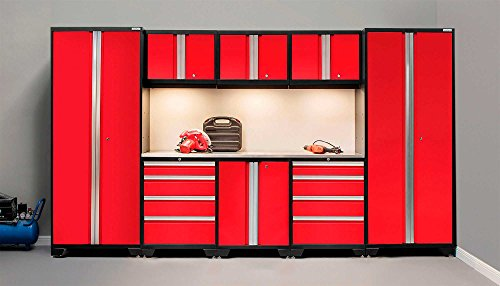 NewAge Products 50317 Bold 3.0 Cabinetry Set with Stainless Steel Work Top, Red