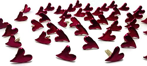 Heart Pink Curved (Curved Heart Brads - Hot Pink - Bulk 50ct)