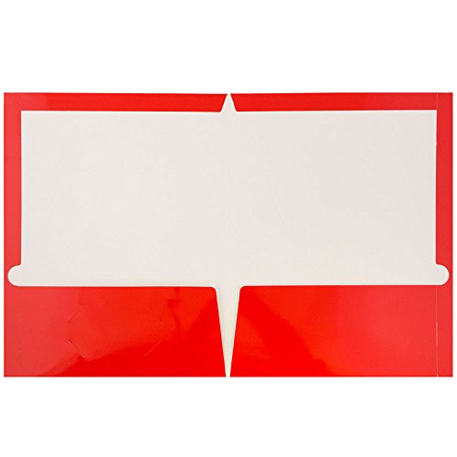 JAM Paper Laminated Glossy 2 Pocket School Folders - Red - 100/pack by JAM Paper (Image #1)