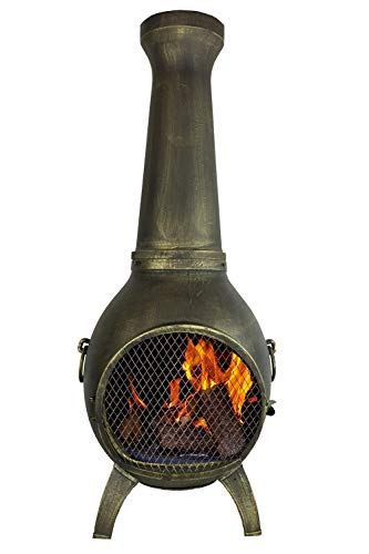 The Blue Rooster CAST Aluminum Prairie Chiminea with Gas and a 10' Hose in Gold Accent. Also Comes with a Free Year Round Cover.