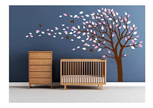 LUCKKYY Tree Blowing in The Wind Tree Wall Decals Wall Sticker Vinyl Art Kids Rooms Teen Girls Boys Wallpaper Murals Sticker Wall Stickers Nursery Decor Nursery Decals (Brown+Pink+Left) ()