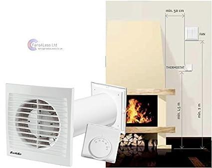 Ventilador extractor calefactor, distribuye aire caliente de una habitación a otra