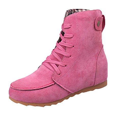 - Sunhusing Women's Lace-Up Flat Bottom Ankle Boots Ladies Round Toe Cover Heel Suede Leather Short Boot Hot Pink