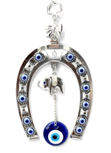Betterdecor Blue Evil Eye with Horse Shoe Hanging Decoration for Protection (With a ()