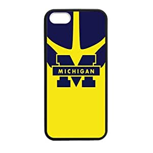Generic Custom Unique Design NCAA University of Michigan Wolverines Blue and Yellow Team Logo Plastic and TPU Black and White Case Cover for iPhone5 iPhone5S