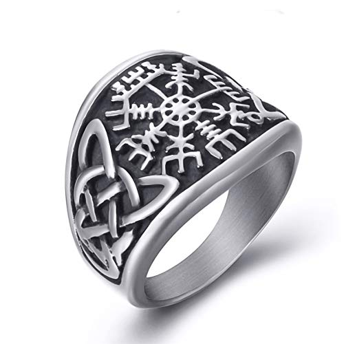 (Elfasio Men Stainless Steel Rings Viking Valknut Pirate Compass Text Symbol Vintage Jewelry Size 8)