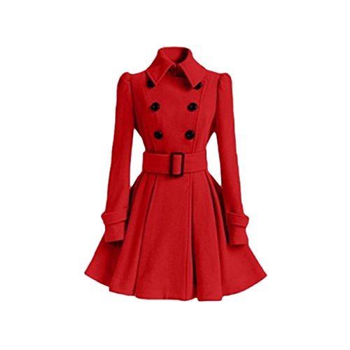 (LANMWORN Women's Lapel Woolen Double-Breasted Pea Coat Trench Jacket with Belt, Big Swing Dress Style Buckle Coat)