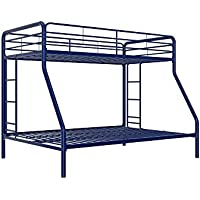 DHP Twin-Over-Full Bunk Bed with Metal Frame and Ladder, Space-Saving Design, Blue