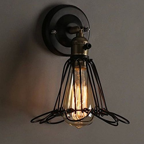 Pottery Sconce Rustic Barn - Loune Week Barn Lighting Vintage Metal Industrial Wall Light European Retro Wire Cage Wall Lamp Iron Sconce for Decorative Rustic Lights Cafe Barn Garage