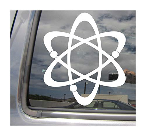 (Right Now Decals - Atomic Nuclear Symbol Sign #2 - Quantum Physicist - Cars Trucks Moped Helmet Hard Hat Auto Automotive Craft Laptop Vinyl Decal Store Window Wall Sticker 10547)