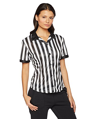 Underwraps Women's Referee Fitted Shirt, Black/White, Medium (Women Referee Costume)
