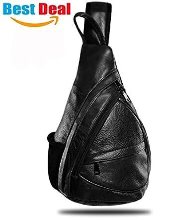 Leather Sling Bag Backpack, Multipurpose Outdoor Chest Crossbody Bag for Men & Women 15L