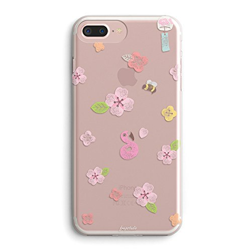Cherry Tree Leaves - iPhone 8 Plus Case,iPhone 7 Plus Case,Flowers Pink Flamingo Cute Cherry Blossom Colored Vintage Roses Floral Japanese Summer Spring Sakura Girls Clear Soft Case for iPhone 7 Plus/iPhone 8 Plus