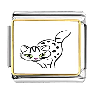 Chicforest Gold Plated Egyptian Mau Cat Bracelet Link Photo Italian Charm