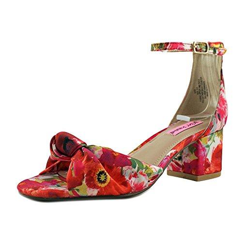 Betsey Johnson Kvinna Ivee Tyg Öppen Tå Tillfällig Fotled Rem Sandaler Floral