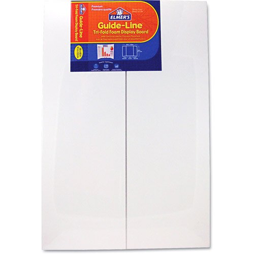 ELMERS Premium Guide-Line Tri-Fold Foam Display Boards, 36''X 48'', White, Case of 12 Boards (905108) by Elmer's