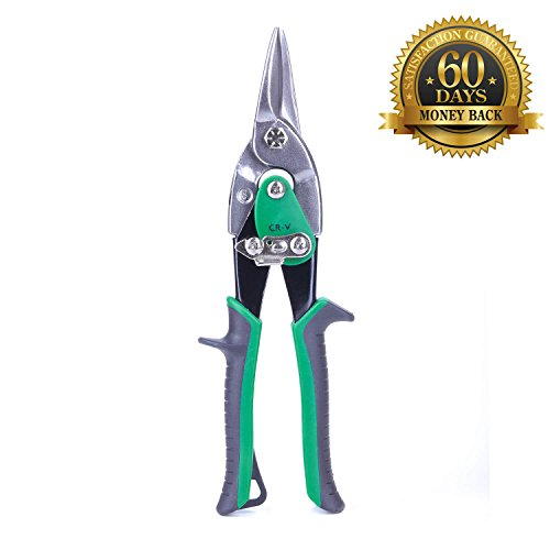 (10inch Tin Aviation Snips - Straight Cut Regular Tin Cutting Shares with Forged Blade & KUSH'N-Power Comfort Grips for Cuts 18-Gauge Steel/Aluminum/Vinyl Siding/Cardboard/Leather/Copper)