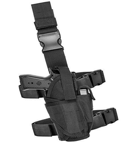 [Carlebben Molle Drop Leg Holster Adjustable Right Handed Tactical Thigh Pistol Gun Holster (Black)] (Leg Gun Holster Costumes)