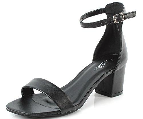 AgeeMi Shoes Mujer Tacón Medio Hebilla Puntera Abierta Sandalias de Vestir Negro