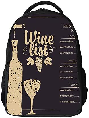 SARA NELL School Bags for Kids Elementary Wine List Menu With Bottle Glass And Grape Bunch School Backpacks Bookbags for Children