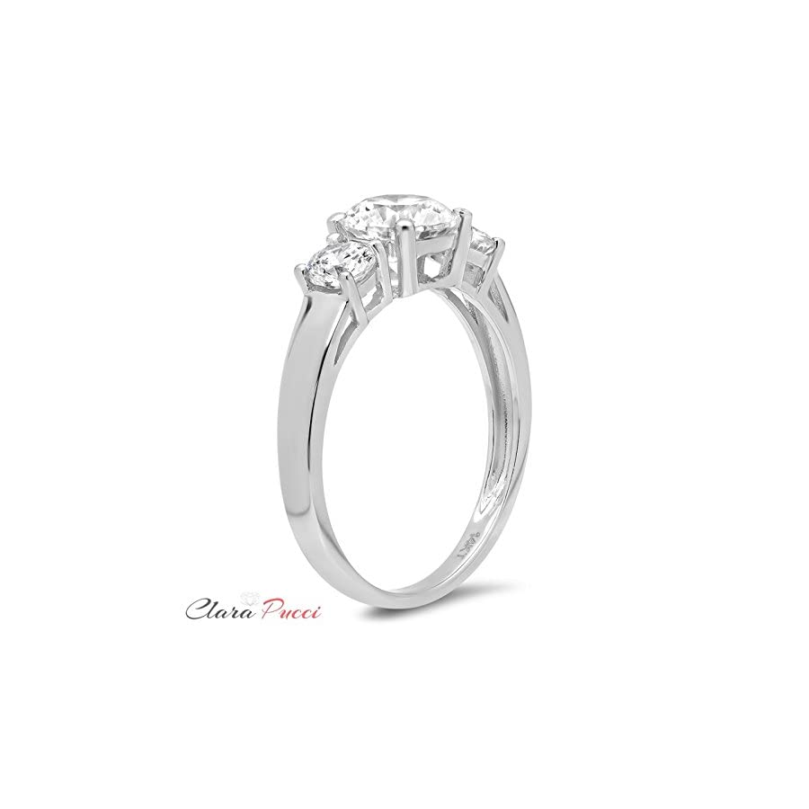 1.7 Ct Round Cut Solitaire Three Stone Promise Bridal Anniversary Engagement Wedding Band Ring 14K White Gold, Clara Pucci