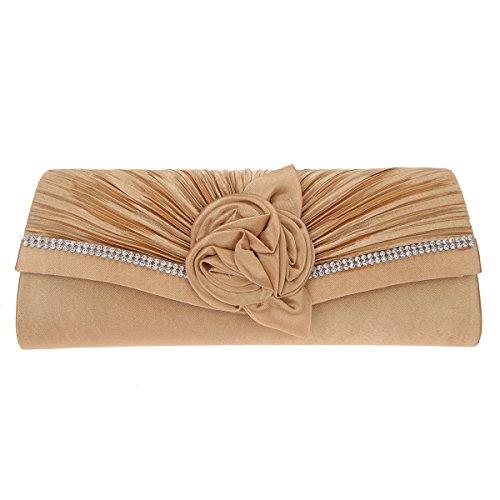 Clutch Bag Apricot - Fawziya Satin rose baguette handbag ladies evening party clutch bag-Apricot