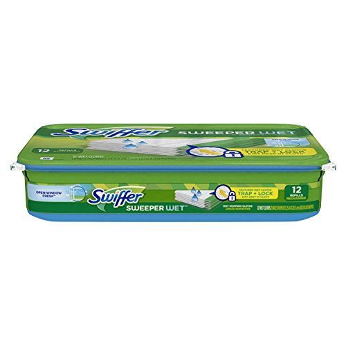 Swiffer Sweeper Wet Mopping Pad Refills for Floor Mop Open Window Fresh Scent 12 Count (Swifter Steam Mop Pads compare prices)