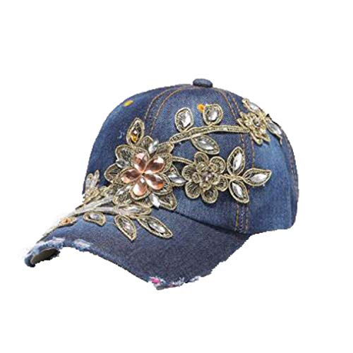 Womens Glittered Rhinestone Baseball Caps Fashion Denim Lace Flower Snapback Hats Bling Sparkle Hip Hop Trucker Hat