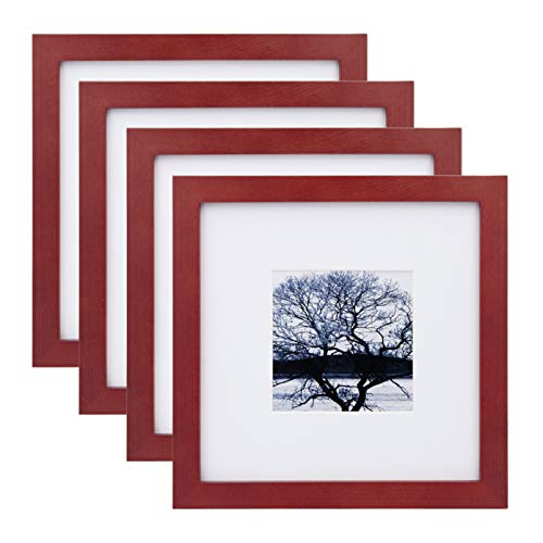 Egofine 8x8 Picture Frames 4 Pack for Picture 4x4 with Mat or 8x8 whitout Mat Made of Solid Wood for Table Top Display and Wall Mounting Photo Frame, Dark Red (Red Photos Frames For)