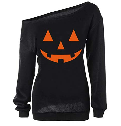 Dutebare Women Halloween Pumpkin Shirt Off Shoulder Sweatshirt Slouchy Long Sleeve Pullover Tops Black C XL -