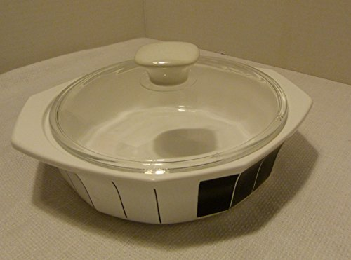 1 Quart Casserole Covered Round - Daniel Hechter Paris Counterpoint Black Rare 1 QT Round Covered Casserole With Glass Lid