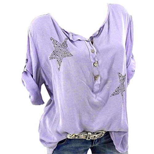 Toimoth Women Plus Size Button Five-Pointed Star Hot Drill Tops ()