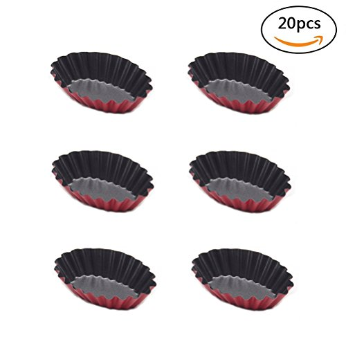 Kuke 20 Pcs Reusable Egg Tart Mold Cupcake and Muffin Baking Cup,Oval Shape Tortilere Cookie Pudding Mould Baking Tool Bakeware by Kuke