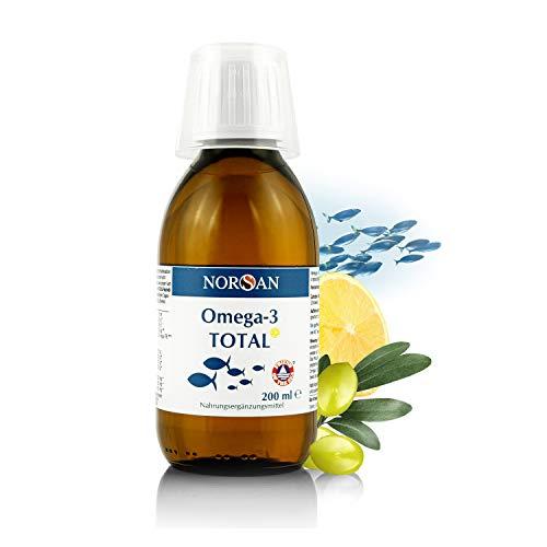 NORSAN Omega-3 TOTAL Zitrone I 2.000 mg Omega-3 und 800 IE Vitamin D3 I EPA reiches Omega-3 Öl I Fischöl I 200 ml Flasche I Natürlich rein I Laborgeprüfte Qualität