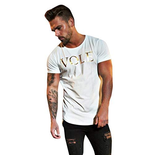 FD-FLY88Men's Fashion Round Collar Elastic Elliptical Hem Casual Fitness T-Shirt Short Sleeve Shirt White (Best Elliptical 2019 For Home)