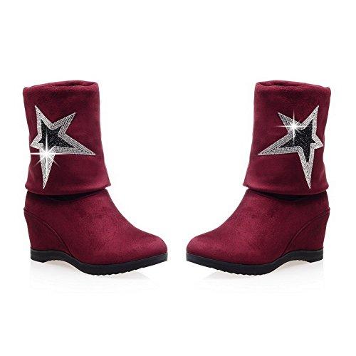 AllhqFashion Mujeres Puntera Redonda Sólido Caña Alta Plataforma Cuña Botas con Diamante Rojo