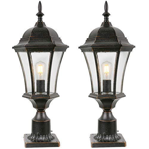 """Goalplus Outdoor Post Light Fixture with Pier Mount for Yard 24 1/2"""" High 60W Post Lamp for Driveway Black Post Lantern with Clear Seeded Glass, 2 Pack, LM4610-M-2P"""