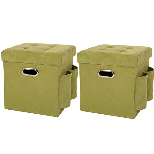 Glitzhome Foldable Faux Suede Cube Storage Ottoman with Padded Seat Green Set of 2