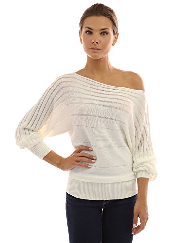 (PattyBoutik Women On Off One Shoulder Semi-Sheer Sweater (Ivory Small))