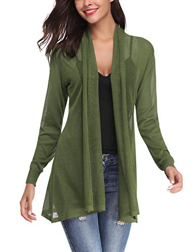 (Abollria Womens Casual Long Sleeve Open Front Cardigan Sweater(Green,XL) )