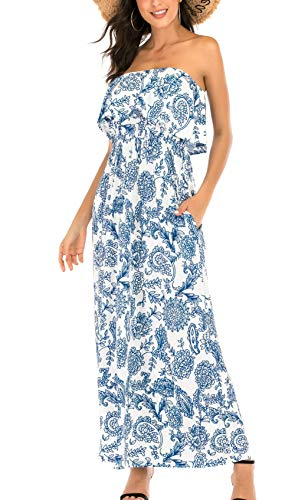 MIDOSOO Womens Off Shoulder Slim Strapless Maxi Vintage Floral Print Graceful Party Long Strapless Summer Dresses Blue&White L