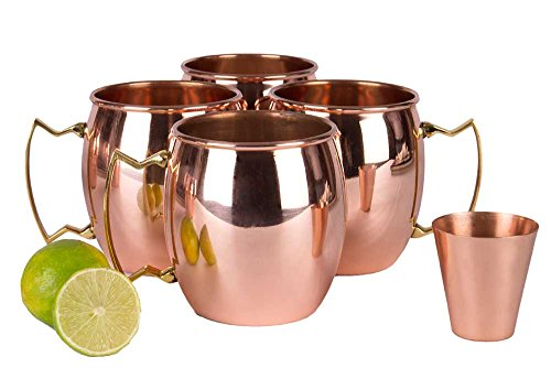 A29 Moscow Mule 100 % Solid Pure Copper Mug /Cup (16-Ounce/Set of 4, Hammered) with BONUS Shot Glass and Free Recipe Booklet by A29