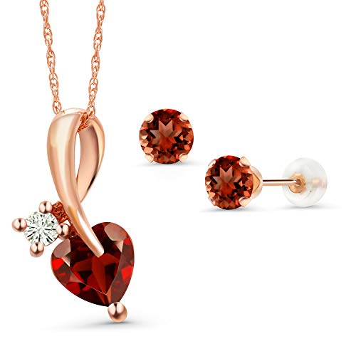 Gem Stone King 3.10 Ct Heart Shape Red Garnet 10K Rose Gold Pendant Earrings Set