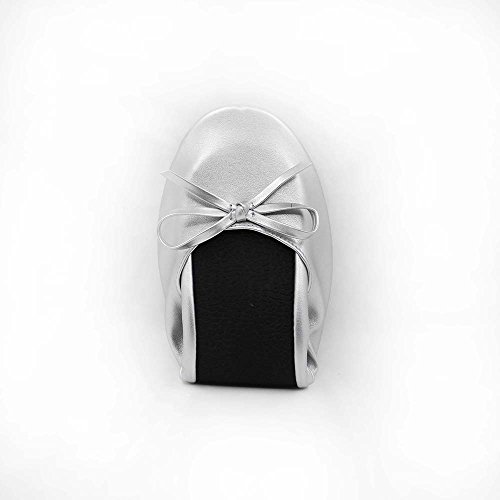 MR.SWEETIE Womens Wedding Gift Foldable Portable Flexable Outsole Roll Up Ballet Flat Shoes (Small, Silver) by MR.SWEETIE (Image #4)